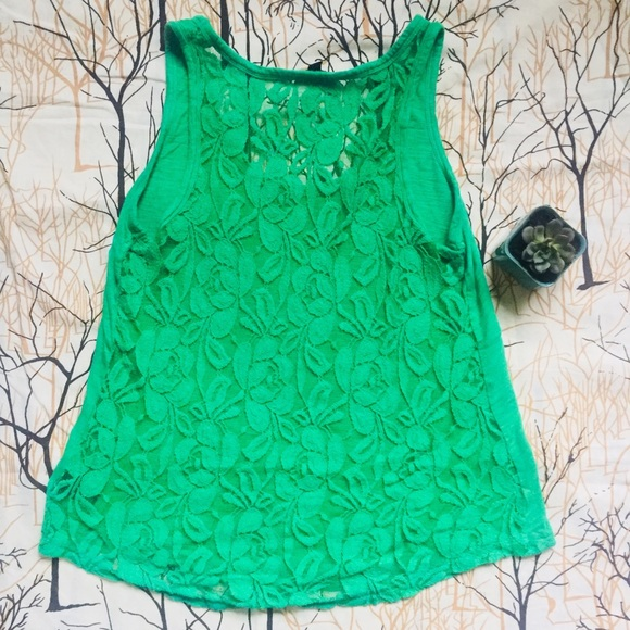 9aad098d Express Tops | Kelly Green Lace Back Tank Top Size Small | Poshmark